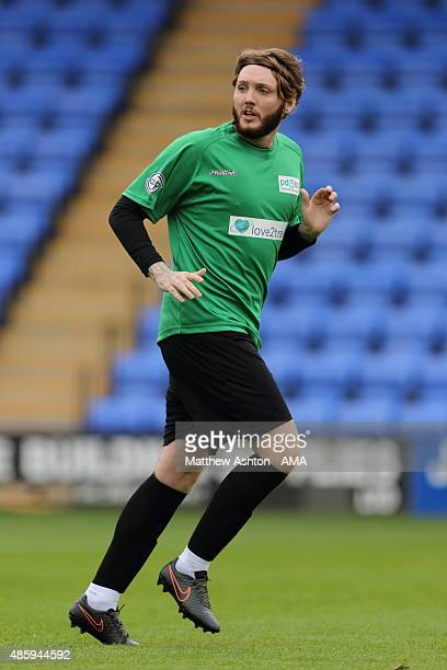 Singer James Arthur during a charity football match in aid of PDSA at Greenhous Meadow, home of Shrewsbury Town Football Club, on August 30, 2015 in...