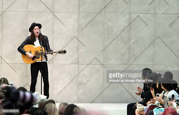 Singer James Bay performs at the Burberry Prorsum show during London Fashion Week Spring Summer 2015 at on September 15, 2014 in London, England.