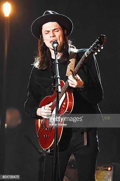 Singer James Bay performs onstage during the 2016 American Music Awards at Microsoft Theater on November 20 2016 in Los Angeles California