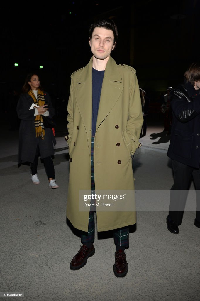 Singer James Bay wearing Burberry at the Burberry February 2018 show during London Fashion Week at Dimco Buildings on February 17, 2018 in London, England.