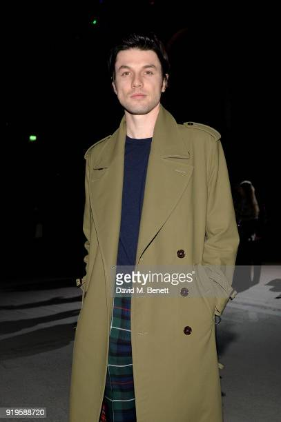 Singer James Bay wearing Burberry at the Burberry February 2018 show during London Fashion Week at Dimco Buildings on February 17 2018 in London...
