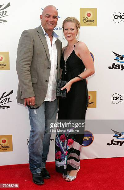 Singer James Blundell and partner Jesse Curran arrive at the 36th CMAA Country Music Awards at the Tamworth Regional Entertainment and Convention...