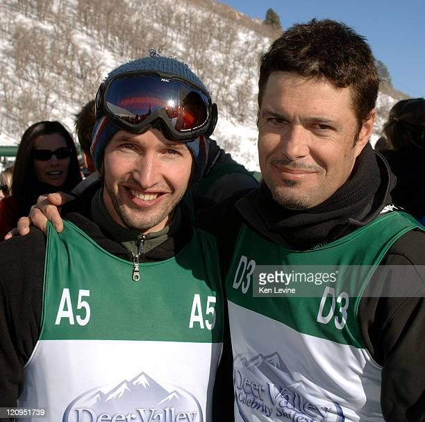 Singer James Blunt left is joined by Carlos Bernard right after Blunt defeated Bernard at the Deer Valley Celebrity Skifest at Deer Valley Resort in...
