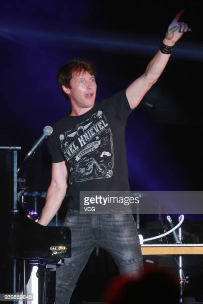 Singer James Blunt performs on the stage in concert at AsiaWorldExpo on March 29 2018 in Hong Kong Hong Kong