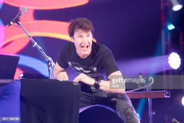Singer James Blunt performs on the stage in concert at Sun Yat-sen Memorial Hall on April 2, 2018 in Guangzhou, China.
