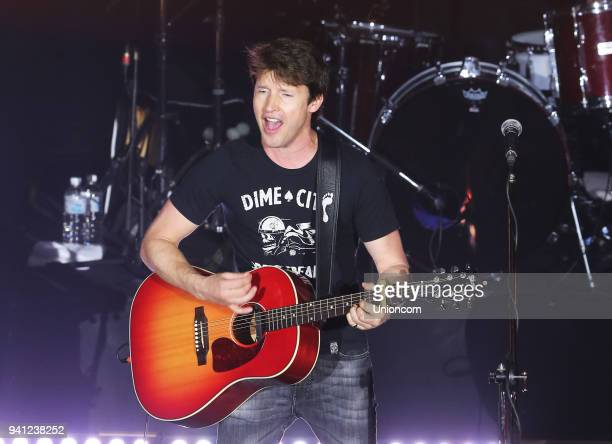 Singer James Blunt performs on the stage in concert on March 31 2018 in Taipei Taiwan of China