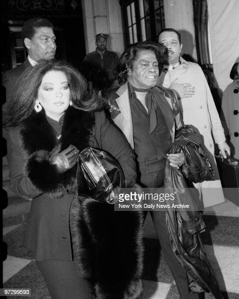 singer james brown and his wife adrienne arrive at plaza