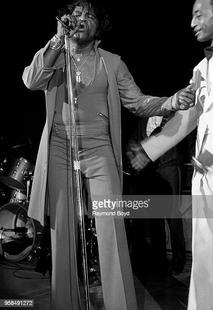 Singer James Brown performs at the Bismarck Theatre in Chicago Illinois in January 1985