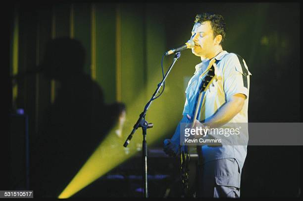 Singer James Dean Bradfield performing with Welsh alternative rock group the Manic Street Preachers in Margate Kent 22nd September 1998