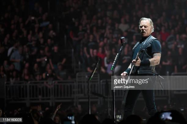 Singer James Hetfield of Metallica performs at Sprint Center on March 6 2019 in Kansas City Missouri