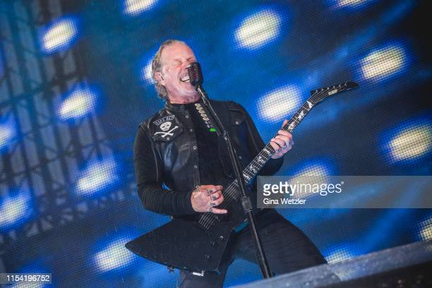 Singer James Hetfield of the american band Metallica performs live on stage during a concert at Olympiastadion on July 6 2019 in Berlin Germany