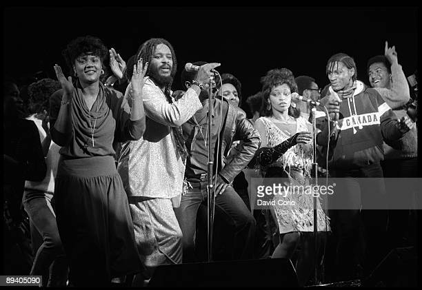 Singer James Mtume of the R and B/Soul group Mtume performs onstage at the Hammersmith Odeon on January 27 in London England
