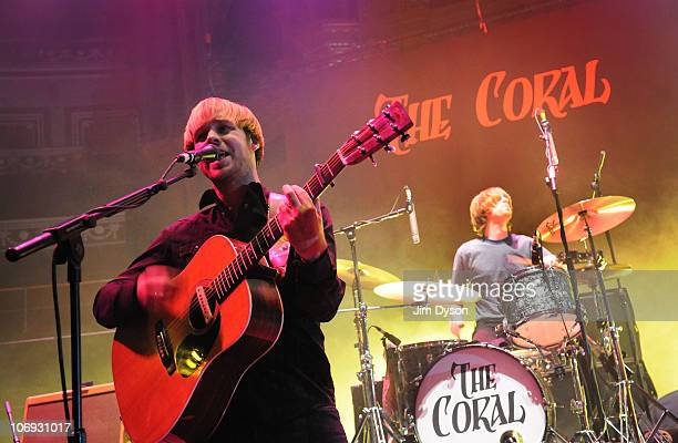 Singer James Skelly and drummer Ian Skelly of The Coral perform live on stage at the Royal Albert Hall on November 15 2010 in London England