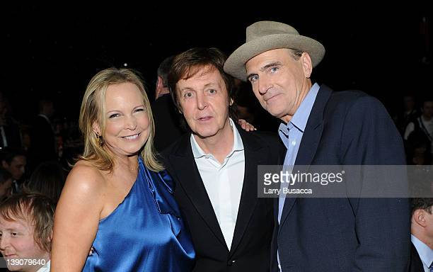 Singer James Taylor honoree Sir Paul McCartney and Kim Smedvig are seen at the 2012 MusiCares Person of the Year Tribute to Paul McCartney held at...