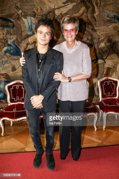 Singer Jamie Cullum and Gloria von Thurn und Taxis during the Jamie Cullum concert at Thurn Taxis Castle Festival 2018 on July 20 2018 in Regensburg...