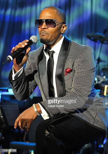 Singer Jamie Foxx onstage during the 52nd Annual GRAMMY Awards Salute To Icons Honoring Doug Morris held at The Beverly Hilton Hotel on January 30...