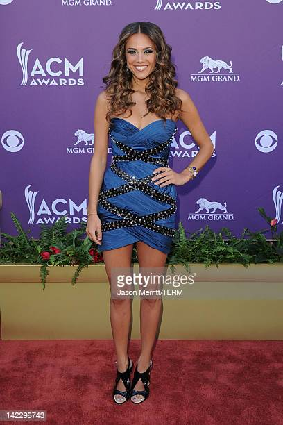 Singer Jana Kramer arrives at the 47th Annual Academy Of Country Music Awards held at the MGM Grand Garden Arena on April 1 2012 in Las Vegas Nevada