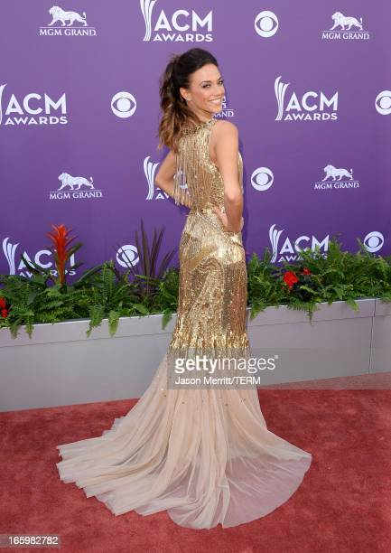 Singer Jana Kramer arrives at the 48th Annual Academy of Country Music Awards at the MGM Grand Garden Arena on April 7 2013 in Las Vegas Nevada