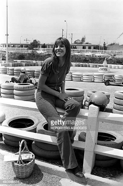 Singer Jane Birkin on a karting racing circuit in France circa 1970