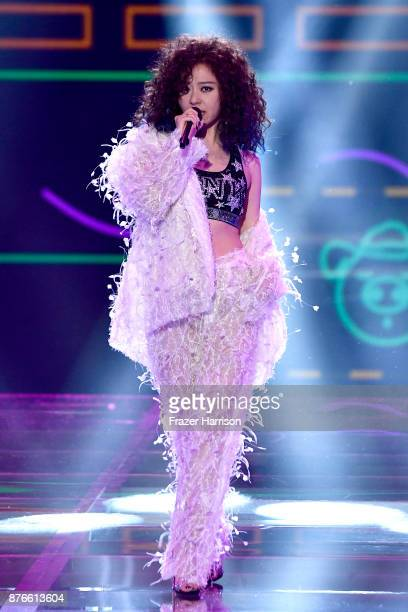 Singer Jane Zhang performs on the runway during the 2017 Victoria's Secret Fashion Show In Shanghai at MercedesBenz Arena on November 20 2017 in...