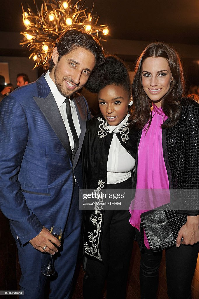 Singer Janelle Monae, actress Jessica Lowndes, and music director Michaelangelo L'Aqua pose at W Hotels' Symmetry Live featuring Janelle Monae at W Hollywood on May 25, 2010 in Hollywood, California.