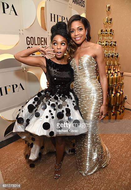 Singer Janelle Monae and Naomie Harris attend the 74th Annual Golden Globe Awards at The Beverly Hilton Hotel on January 8, 2017 in Beverly Hills,...