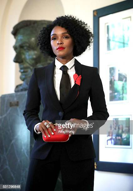 Singer Janelle Monae arrives at a Nordic State Dinner May 13 2016 at the White House in Washington DC President Barack Obama and the first lady are...