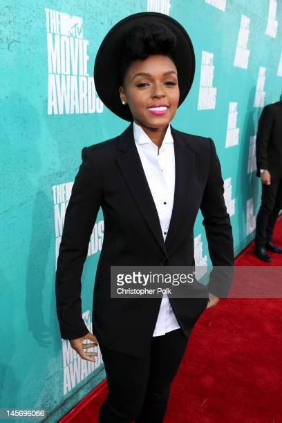 Singer Janelle Monae arrives at the 2012 MTV Movie Awards held at Gibson Amphitheatre on June 3 2012 in Universal City California
