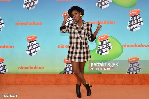 US singer Janelle Monae arrives for the 32nd Annual Nickelodeon Kids' Choice Awards at the USC Galen Center on March 23 2019 in Los Angeles