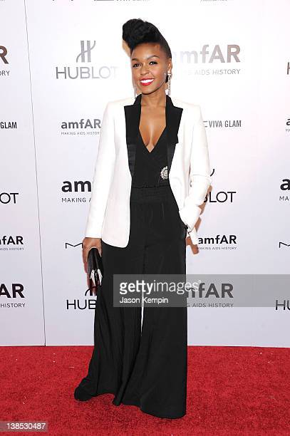 Singer Janelle Monae attends the amfAR New York Gala To Kick Off Fall 2012 Fashion Week Presented By Hublot at Cipriani Wall Street on February 8...