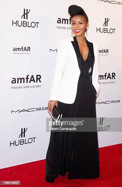 Singer Janelle Monae attends the amfAR New York Gala To Kick Off Fall 2012 Fashion Week at Cipriani Wall Street on February 8 2012 in New York City