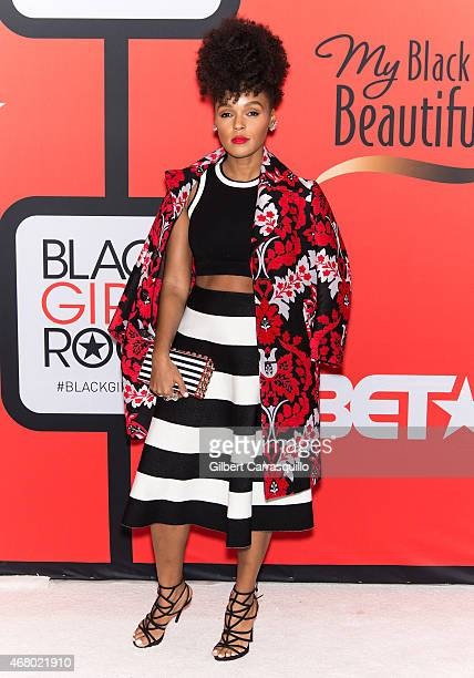 Singer Janelle Monae attends the BET's 'Black Girls Rock' Red Carpet at NJ Performing Arts Center on March 28 2015 in Newark New Jersey