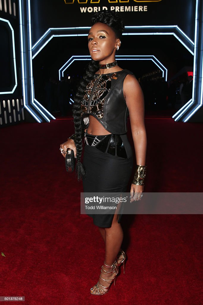 Singer Janelle Monae attends the Premiere of Walt Disney Pictures and Lucasfilm's 'Star Wars: The Force Awakens' on December 14, 2015 in Hollywood, California.