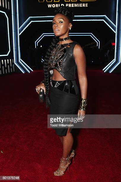 Singer Janelle Monae attends the Premiere of Walt Disney Pictures and Lucasfilm's Star Wars The Force Awakens on December 14 2015 in Hollywood...