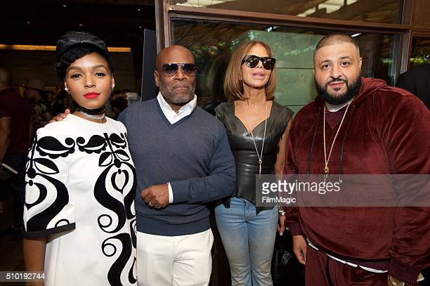 Singer Janelle Monae Music Executive LA Reid CEO/Epic Records Sylvia Rhone and Hip Hop Artist DJ Khaled pose for a photo at the LA Reid 'Sing To Me'...