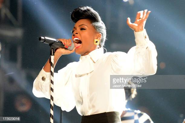 Singer Janelle Monae performs onstage during the 2013 BET Awards at Nokia Theatre LA Live on June 30 2013 in Los Angeles California