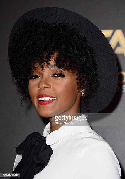 Singer Janelle Monae poses in the press room during the 18th Annual Hollywood Film Awards at The Palladium on November 14 2014 in Hollywood California