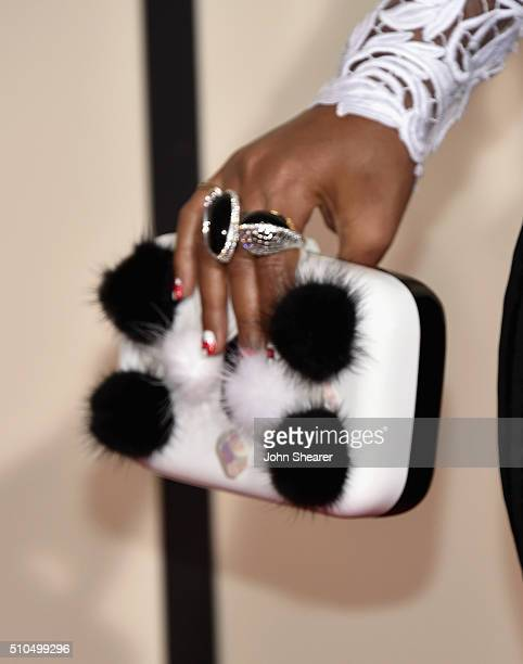 Singer Janelle Monae, purse detail, attends The 58th GRAMMY Awards at Staples Center on February 15, 2016 in Los Angeles, California.