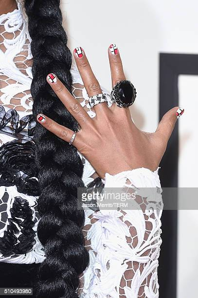 Singer Janelle Monae ring detail attends The 58th GRAMMY Awards at Staples Center on February 15 2016 in Los Angeles California