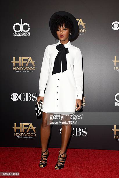 Singer Janelle Monae, winner of Hollywood Song for 'What is Love?' from 'Rio 2,' poses in the press room during the 18th Annual Hollywood Film Awards...