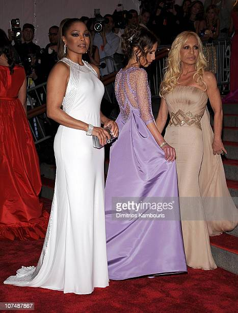 Singer Janet Jackson Allegra Versace and designer Donatella Versace attend the Metropolitan Museum of Art Costume Institute Gala Superheroes Fashion...