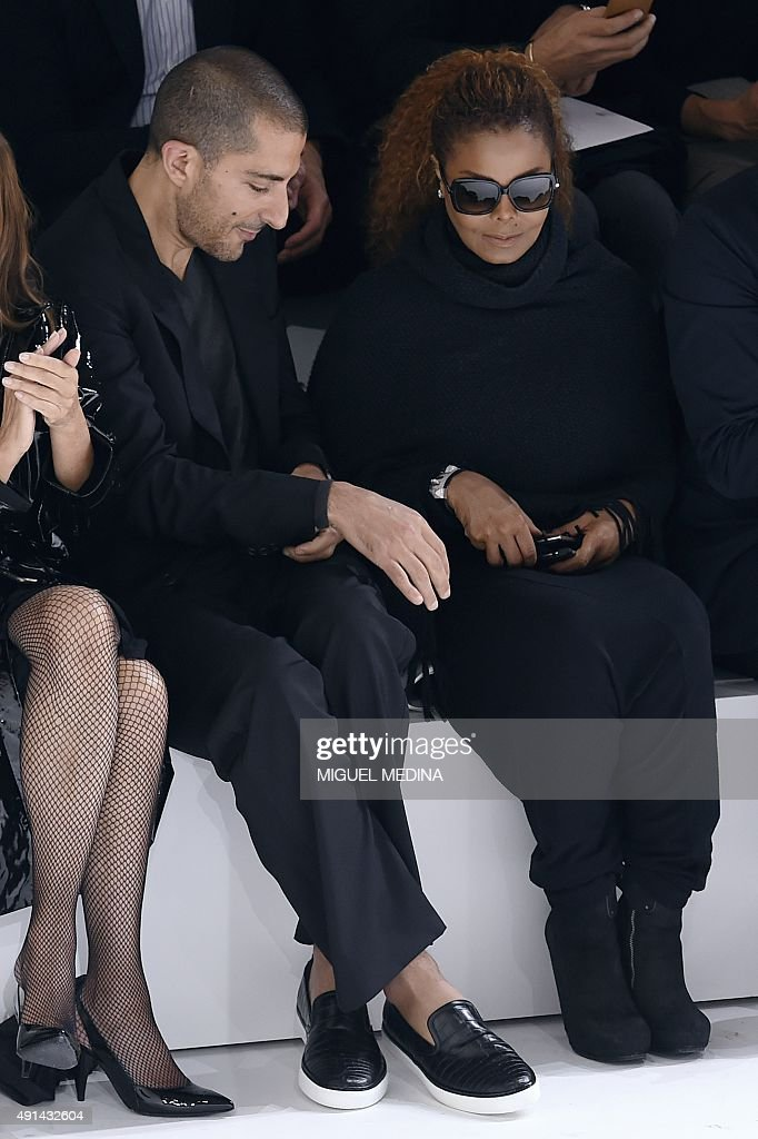 US singer Janet Jackson (R) and husband Wissam Al Mana attend Hermes 2016 Spring/Summer ready-to-wear collection fashion show, on October 5, 2015 in Paris.