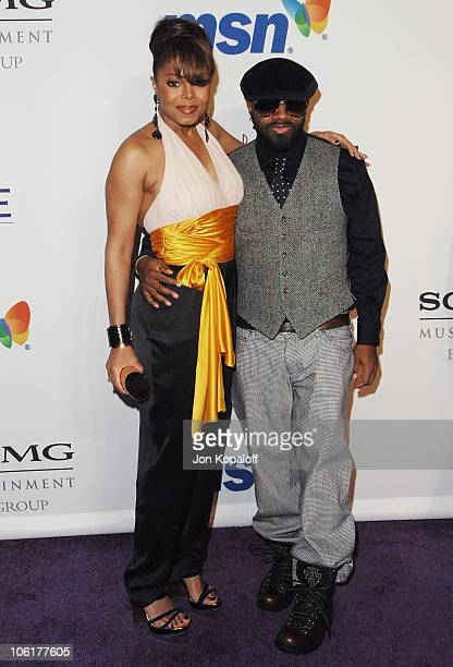 Singer Janet Jackson and music producer Jermaine Dupri arrive to the Clive Davis PreGrammy Party at the Beverly Hilton Hotel on February 9 2008 in...