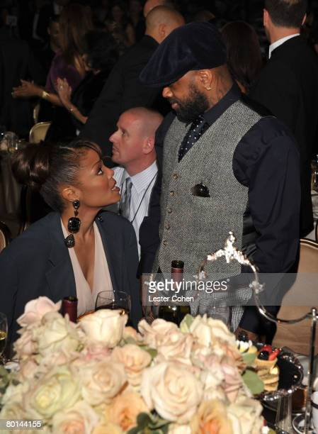 Singer Janet Jackson and Producer Jermaine Dupri during the 2008 Clive Davis PreGRAMMY party at the Beverly Hilton Hotel on February 9 2008 in Los...