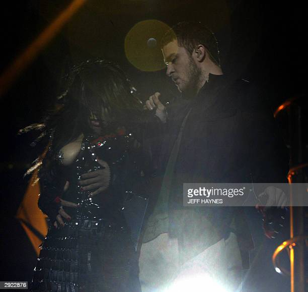 US singer Janet Jackson has her breast exposed while singing with Justin Timberlake during the halftime of Super Bowl XXXVIII at Reliant Stadium on...