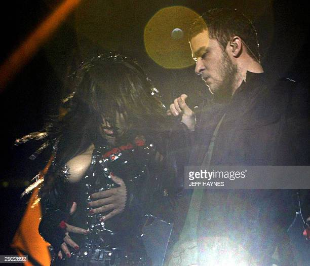 US singer Janet Jackson has her breast exposed while singing with Justin Timberlake during the halftime of Super Bowl XXXVIII at Reliant Stadium 01...