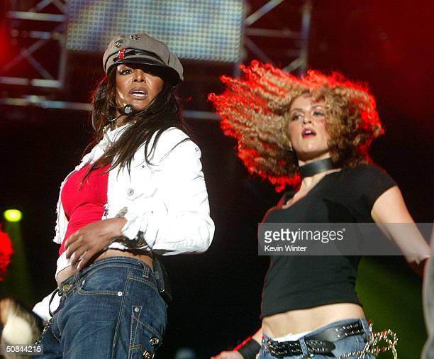 Singer Janet Jackson performs at 1027 KIISFM's Wango Tango OnAir 2004 at the Rose Bowl May 15 2004 in Pasadena California