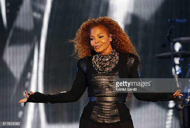 US singer Janet Jackson performs during the Dubai World Cup horse racing event on March 26 2016 at the Meydan racecourse in the United Arab Emirate...