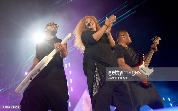 US singer Janet Jackson performs on stage during the Jeddah World music Festival on July 18 at the King Abdullah Sports City in the coastal city of...