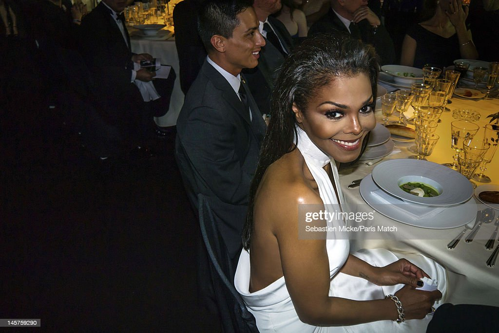 Singer Janet Jackson photographed at the amfAR gala for Paris Match on May 24, 2012 in Cap d'Antibes, France.
